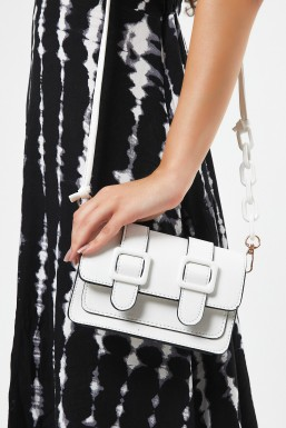 Tonny Black - Tonny Black Beyaz Kadın Toka Detaylı Mini Kutu Çapraz Çanta Tbc176