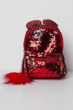 Tonny Black - Tonny Black Kırmızı Pullu Ponpon Detaylı Çoçuk Çantası TBC63 TBC63-3_123