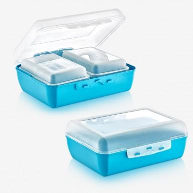 Plastart - Plastart 1 Adet Üçlü Lunch Box Set- Mavi