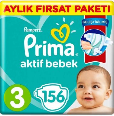 Prima - Prima Bebek Bezi Aktif Bebek 3 Beden 156 Adet aylık Fırsat Paketi