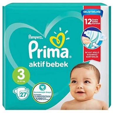 Prima - Prima Bebek Bezi Aktif Bebek 3 Beden 27 Adet İkiz Paket