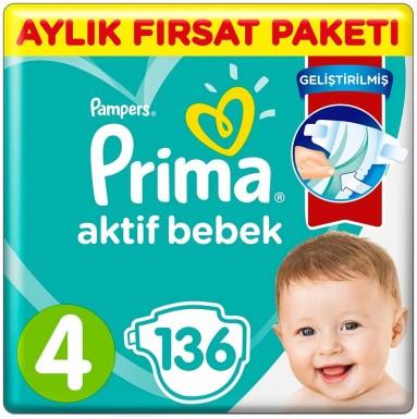 Prima - Prima Bebek Bezi Aktif Bebek 4 Beden 136 Adet aylık Fırsat Paketi