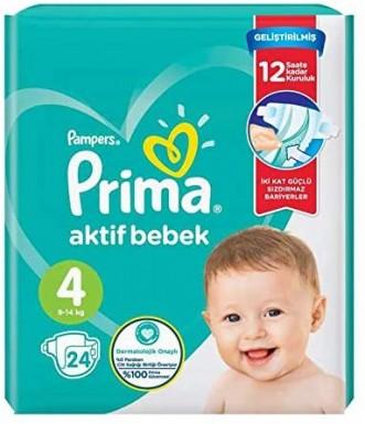 Prima - Prima Bebek Bezi Aktif Bebek 4 Beden 24 Adet İkiz Paket