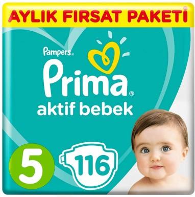 Prima - Prima Bebek Bezi Aktif Bebek 5 Beden 116 Adet Junior Aylık Fırsat Paketi