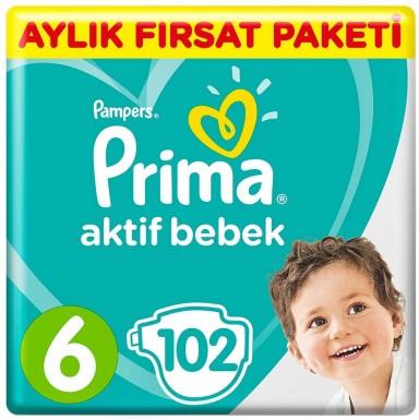 Prima - Prima Bebek Bezi Aktif Bebek 6 Beden 102 Adet Ekstra Large Aylık Fırsat Paketi