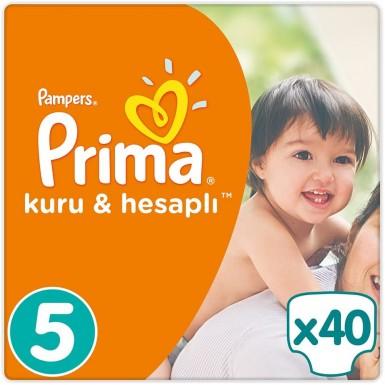 Prima - Prima Bebek Bezi Kuru ve Hesaplı 5 Beden 40 Adet Junior Mega Paket
