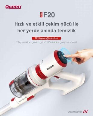 Queen F20 Digital Pro Animal Dikey Şarjlı Süpürge - Beyaz - Thumbnail