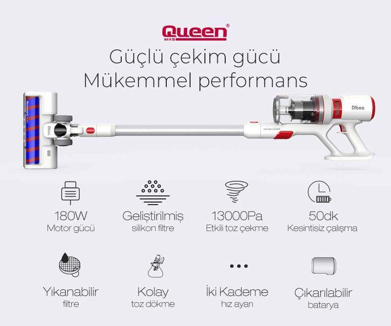 Queen F20 Digital Pro Animal Dikey Şarjlı Süpürge - Beyaz