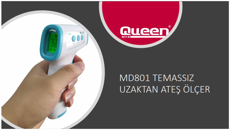 Queen MD 801 Uzaktan Ateş Ölçer Alından Temassız Infrared Kızılötesi Termometre