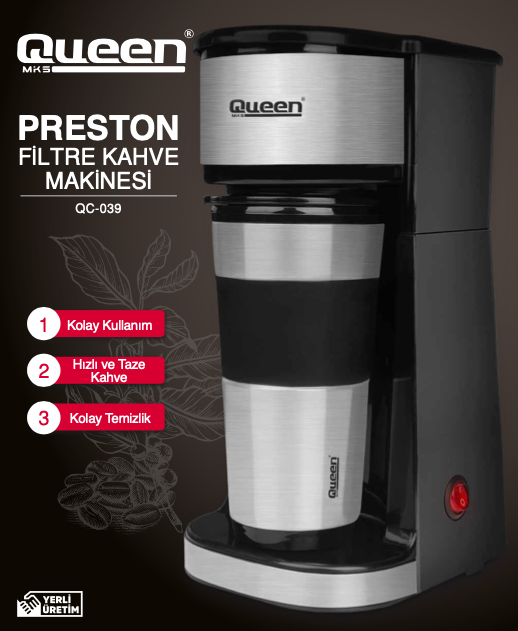 Queen - Queen Preston QC-039 Silver Kahve Makinesi