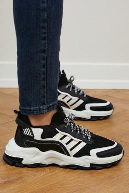 Tonny Black - Tonny Black Siyah Beyaz Unısex Spor Ayakkabı Tbt1