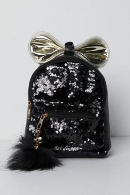 Tonny Black - Tonny Black Siyah Işıklı Ponpon Detaylı Pullu Çoçuk Çantası TBC64 TBC64-3_101