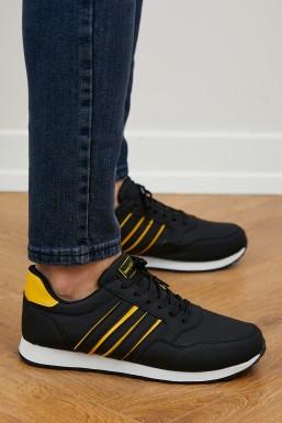Tonny Black - Tonny Black Siyah Sarı Unısex Spor Ayakkabı Tb077